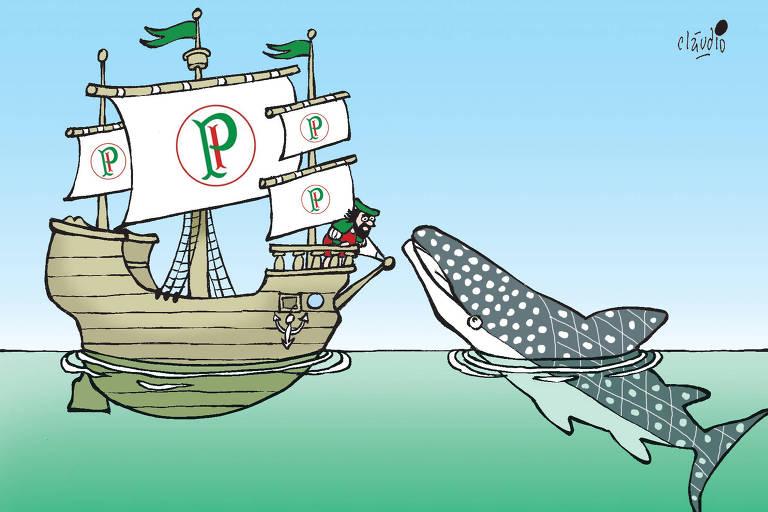 charge com barco caravela palmeirense no mar com uma baleia saindo da água