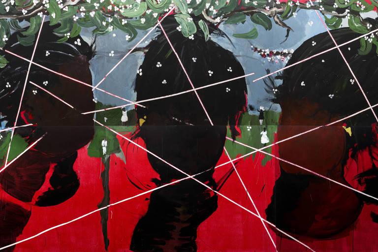 Pintura sem título, de acrílica sobre tela, de Arjan Martins de 2019
