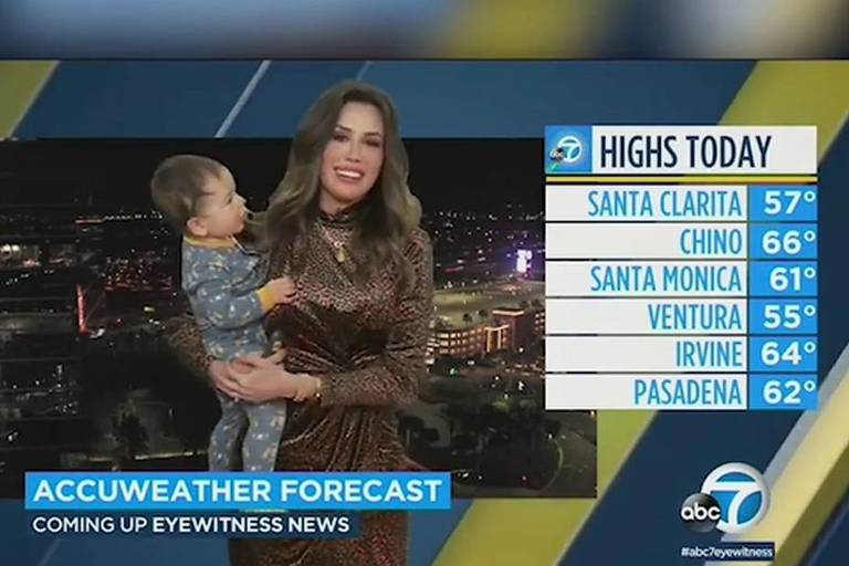 Bebê interrompe transmissão ao vivo da mãe meteorologista