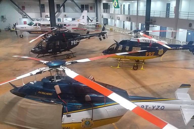 Aeronaves da PRF estão paradas em hangar em Brasília enquanto os estados demandam atendimento