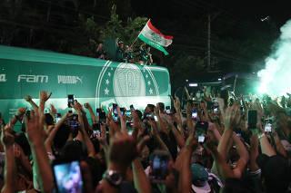 Palmeiras fans celebrate winning the Copa Libertadores
