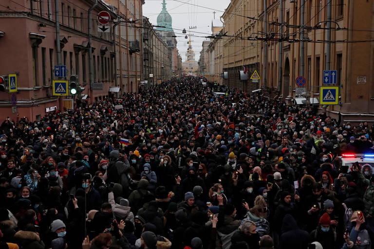 Protestos contra a prisão de Alexei Navalni, em janeiro