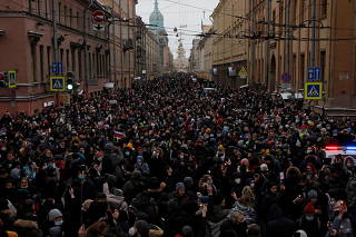 Rally in support of Alexei Navalny in Saint Petersburg
