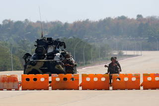 Myanmar's military checkpoint is seen on the way to the congress compound in Naypyitaw, Myanmar