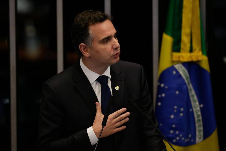 O senador Rodrigo Pacheco (DEM-MG), em discurso antes de eleição ao comando da Casa