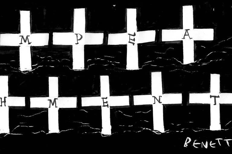 Imagem com fundo preto com 10 cruzes brancas com uma letra cada uma formando a palavra Impeachment