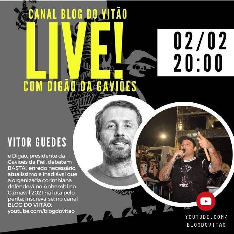 Ilustração com o convite Canal BLOG DO VITÃO live com o Digão, presidente da torcida organizada do Corinthians Gaviões da Fiel