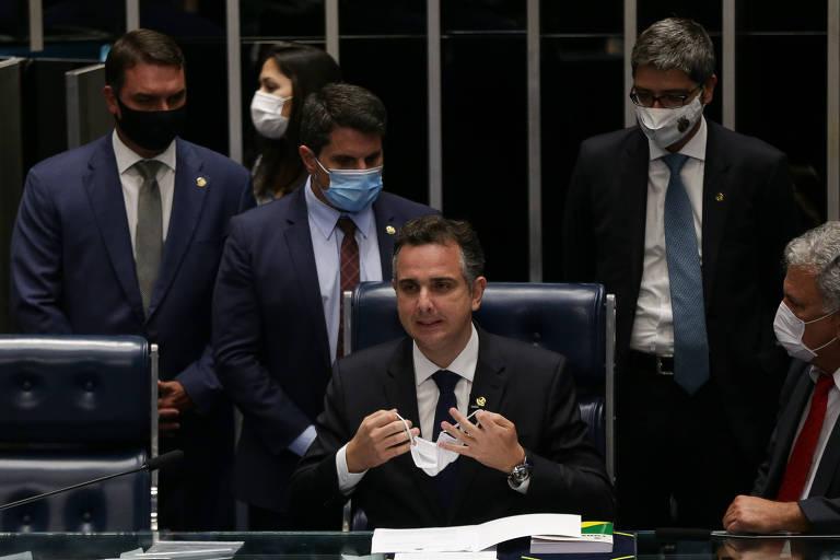 Rodrigo Pacheco (DEM-MG) após ser eleito presidente do Senado, nesta segunda (1°)