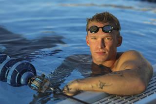 Cody Simpson during a swim practice at Trinity Preparatory School in Winter Park, Fla., Jan. 29, 2021. (Eve Edelheit/The New York Times)