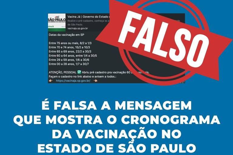 Governo de São Paulo desmente veracidade de calendário de vacinação que circula pela internet