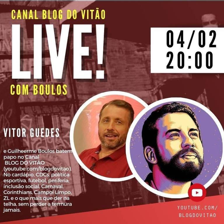 Canal BLOG DO VITÃO recebe na live o político do PSOL Guilherme Boulos, que foi candidato a prefeito de São Paulo na última eleição