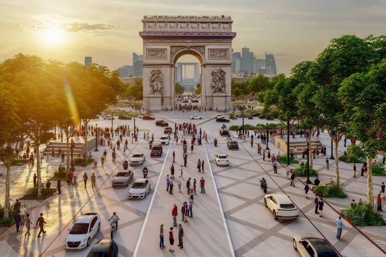 Projeção de como deve ficar a avenida Champ-Elysées, em Paris, após uma reforma milionária