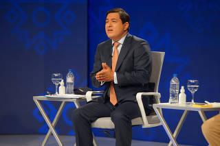 Ecuadorean presidential candidate Andres Arauz participates in a televised debate, in Guayaquil