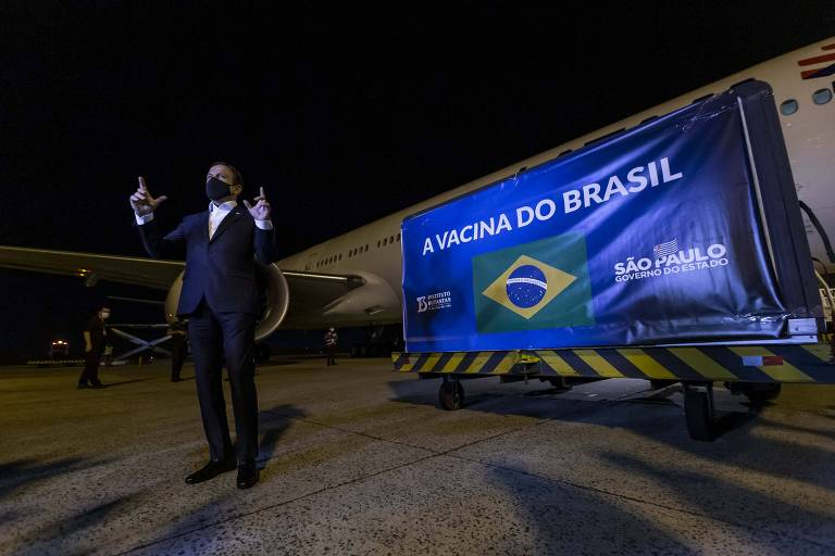 Chegada de nova leva de insumos da Coronavac ao Brasil