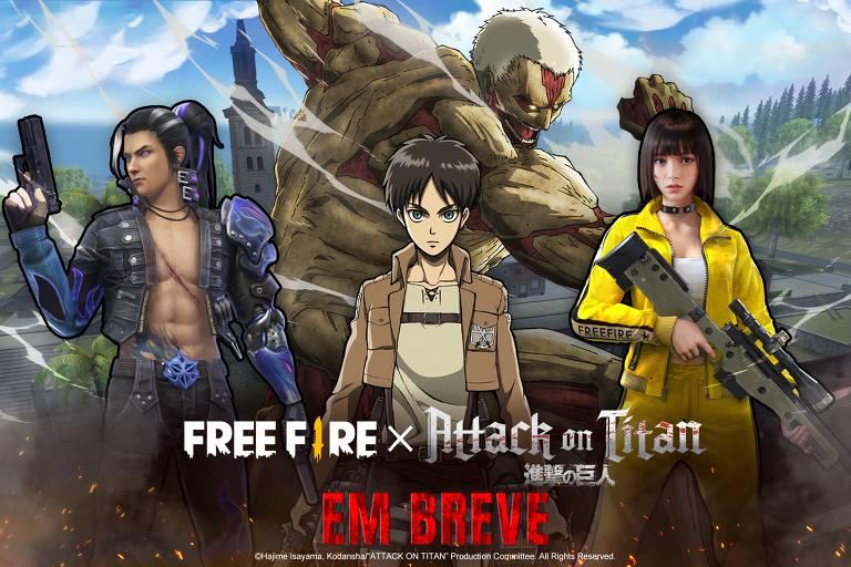 """Jogo """"Free Fire"""" terá parceria com anime """"Attack on Titan"""""""