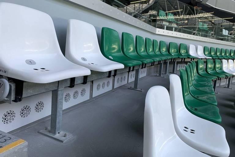 Sistema de refrigeração debaixo de cada cadeira no Education City Stadium, no Qatar