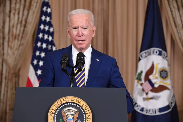 O presidente dos EUA, Joe Biden, fala sobre política externa no Departamento de Estado americano