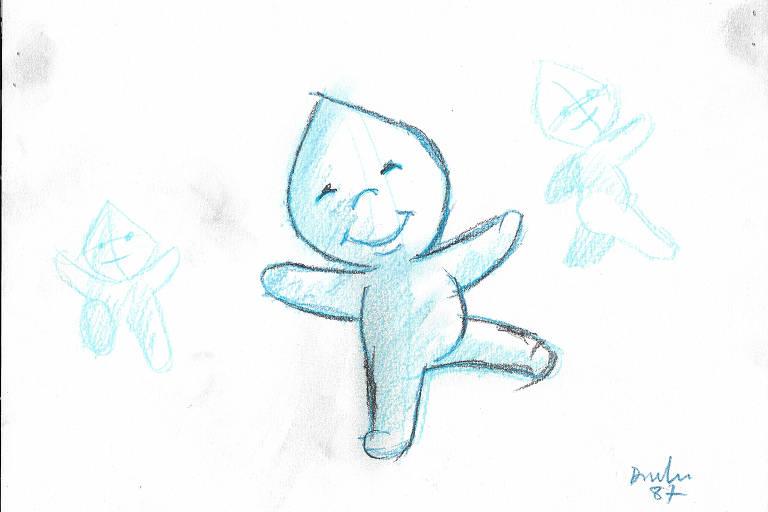 Página sulfite mostra esboços de desenho do personagem Zé Gotinha. No maior e mais nítido deles, o boneco tem tons de azul e sorri de olhos fechados