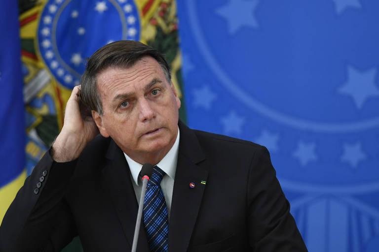 O presidente Jair Bolsonaro concede entrevista coletiva em Brasília, em 5 de fevereiro.