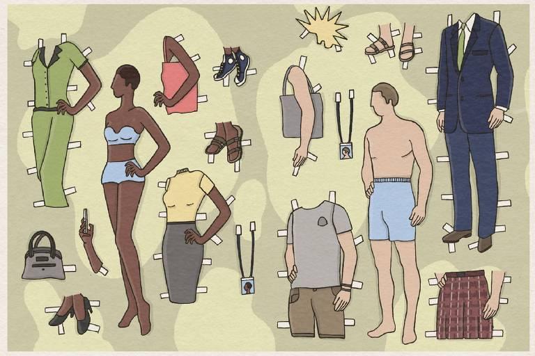 Uma mulher negra e um homem branco com roupas debaixo e várias opções de vestimenta ao lado
