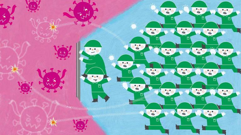 Desenhos de soldados simbolizando os anticorpos da vacina formando um escudo contra os virus