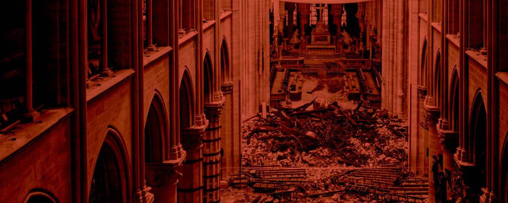 Notre Dame destruída, em vermelho