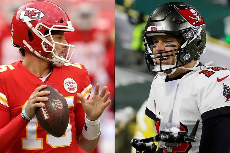 Super Bowl tem duelo geracional para a história entre Brady e Mahomes