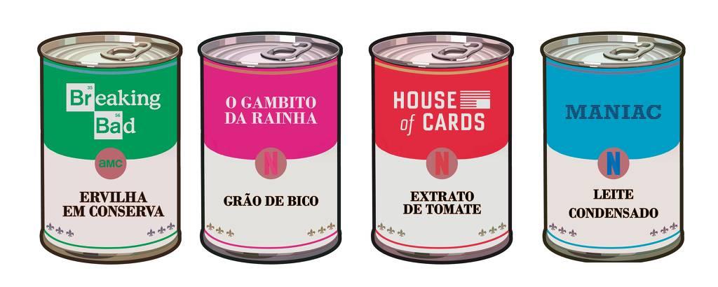 Ilustração de latas com logos de séries recentes