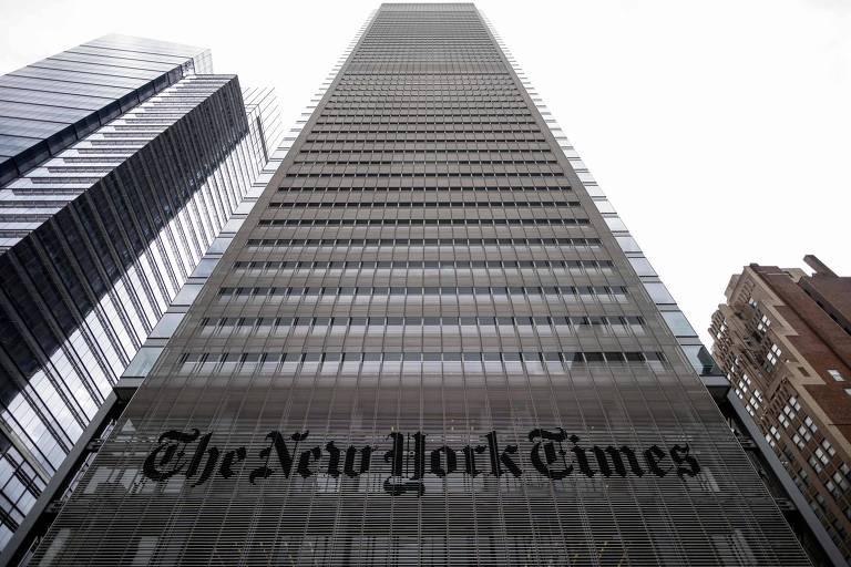 Foto mostra prédio  do The New York Times em Nova York.