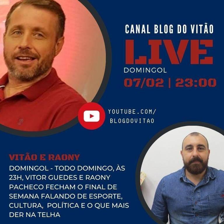 Live do Canal do Vitão acompanhado com o narrador Raony Pacheco debatem o final de semana esportivo