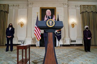 U.S. President Biden speaks about the economy and need to pass coronavirus aid legislation at the White House in Washington