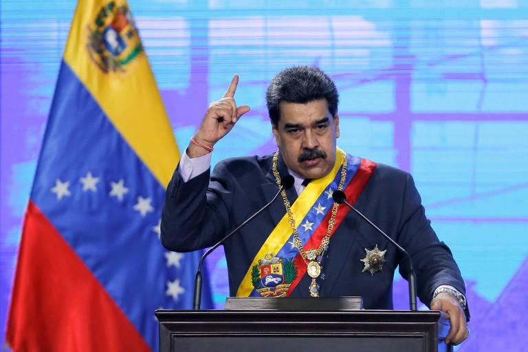 O presidente da Venezuela, Nicolas Maduro, discursa durante cerimônia de abertura do novo mandato de tribunal em Caracas. em 22 de janeiro de 2021.