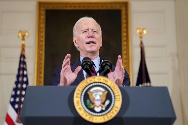 O presidente dos EUA, Joe Biden, durante discurso na Casa Branca, em Washington