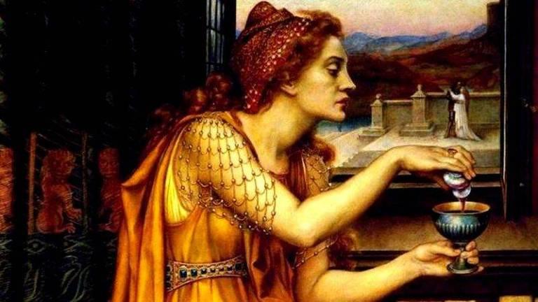 """Esta pintura da artista Evelyn De Morgan parece ilustrar a história de Gulia Tofana, embora seu título seja """"Poção do Amor"""", poderia servir para as mulheres que usaram água-tofana"""