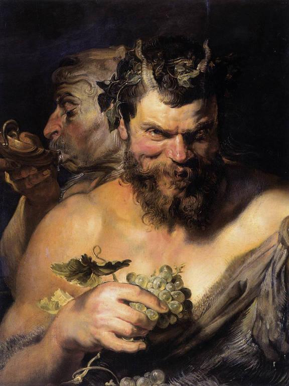 Um sátiro, de chifres e semblante demoníaco, segura cacho de uvas enquanto outro atrás dele bebe vinho em uma taça de metal
