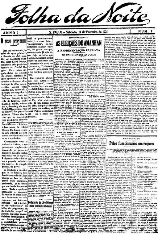Primeira Página da Folha da Noite de 19 de fevereiro de 1921