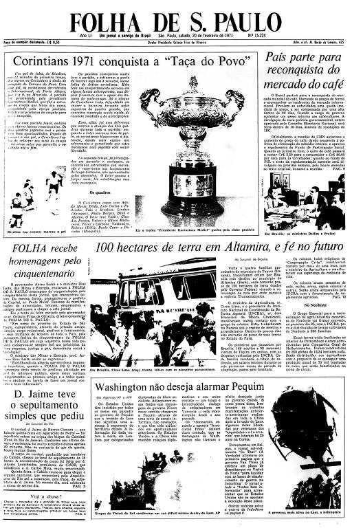 Primeira Página da Folha de 20 de fevereiro de 1971