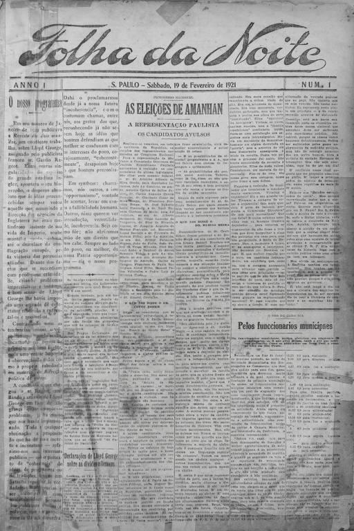 Primeira edição da Folha da Noite, 19 de fevereiro de 1921
