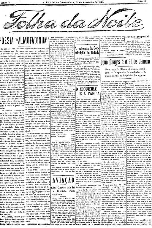 Primeira Página da Folha da Noite de 23 de fevereiro de 1921
