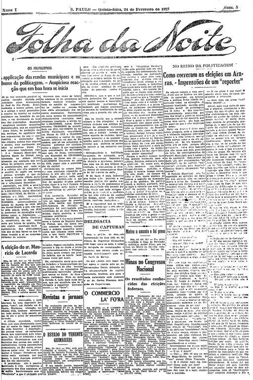 Primeira Página da Folha da Noite de 24 de fevereiro de 1921
