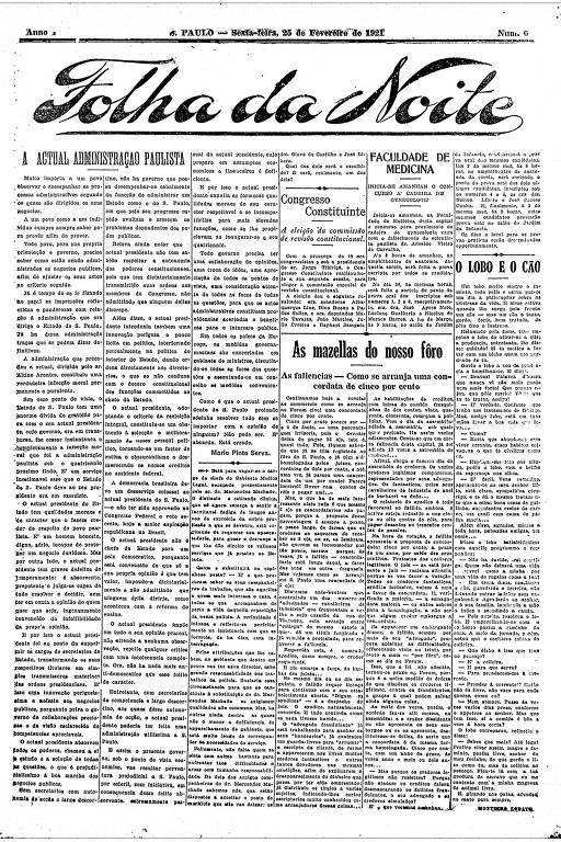 Primeira Página da Folha da Noite de 25 de fevereiro de 1921