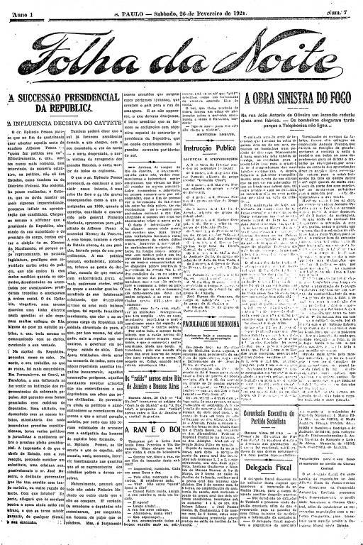 Primeira Página da Folha da Noite de 26 de fevereiro de 1921
