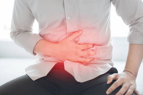 Man with abdominal pain. Abodominal disease concept.