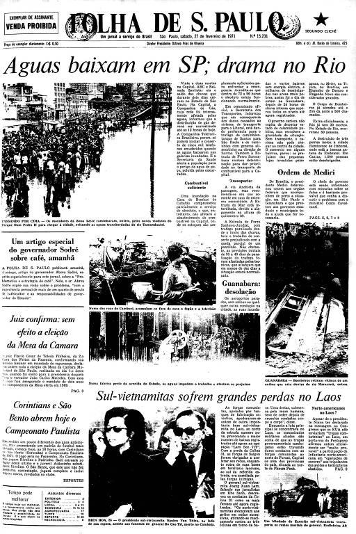 Primeira Página da Folha de 27 de fevereiro de 1971