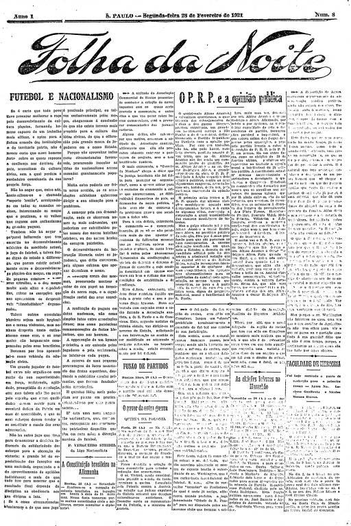 Primeira Página da Folha da Noite de 28 de fevereiro