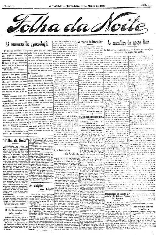 Primeira Página da Folha da Noite de 1º de março de 1921