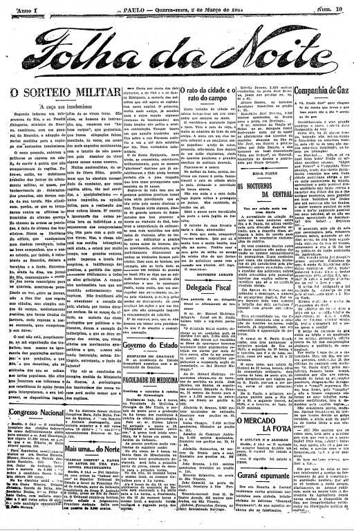Primeira Página da Folha da Noite de 2 de março de 1921