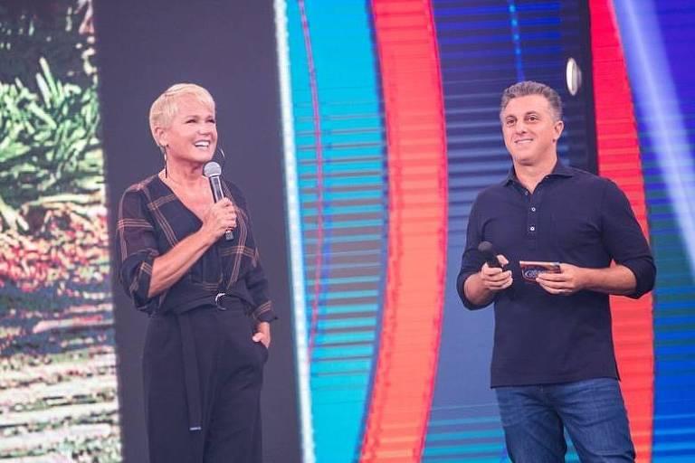 Xuxa e Luciano Huck nas gravações do Caldeirão do Huck