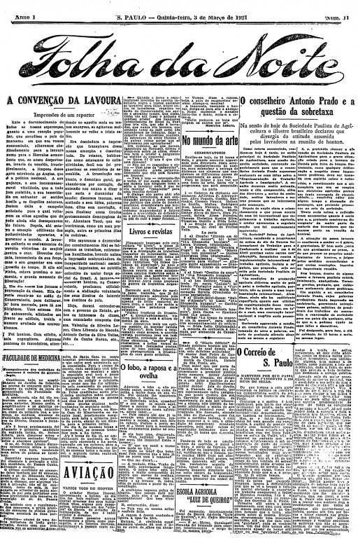 Primeira Página da Folha da Noite de 3 de março de 1921