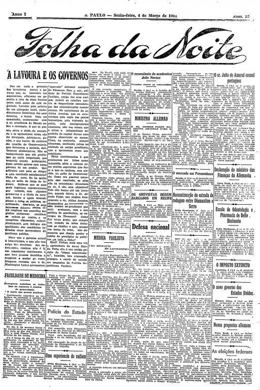 Primeira Página da Folha da Noite de 4 de março de 1921